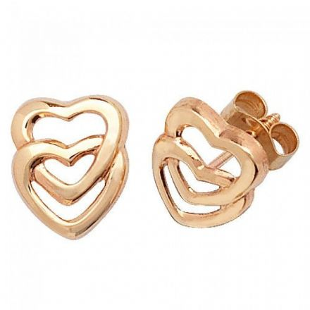 Just Gold Earrings -9Ct Gold Dbl Heart Studs, ES309